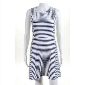 Jcrew navy/white striped A-line crew neck dress